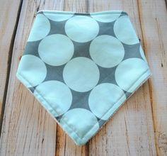 Baby Boy Bib- Bandana Bib- snap closure, lined with plush terry cloth - Disco Dot Seafoam on Etsy, $9.85