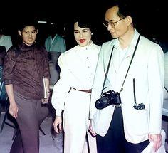King Bhumibol Adulyadej , Queen Sirikit and Princess Maha Chakri Sirindhorn