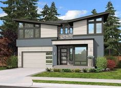 Plan 23572JD: 4 Bed Modern Home With Angular Roofline