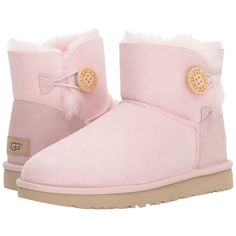 UGG Mini Bailey Button II (Seashell Pink) Women's Boots ($140) ❤ liked on Polyvore featuring shoes, boots, ankle boots, suede heeled ankle boots, low heel leather boots, platform boots, faux-fur boots and pink ankle boots
