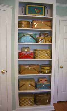 Vintage picnic baskets.  I remember it all started when I wanted a Longaberger picnic basket $$$...anyway, found a picnic basket in an antique store with a name carved into the lid. LOVE. now it's a passion to find used ones. I have one from the set of Little House on the Prairie!