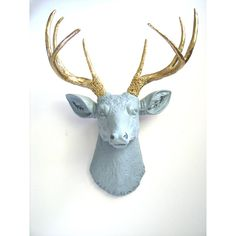 Lite Grey Gold Faux Taxidemy Deer Head Animal Head Wall Mount Wall... ($87) ❤ liked on Polyvore featuring home, home decor, home & living, home décor, silver, wall décor, wall hangings, deer head sculpture, animal figurines and giraffe home decor