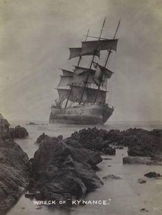"Photographic Print: Wreck of the Sailing Ship ""Kynance"", Punta Blanca, Chile, 1910 : Old Sailing Ships, Abandoned Ships, Merchant Navy, Beautiful Inside And Out, Shipwreck, Tall Ships, Ship Art, Vintage Photographs, Sailboat"