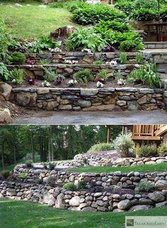 steinmauer garten 20 Inspiring Tips for Building a DIY Retaining Wall Rock Retaining Wall, Building A Retaining Wall, Terraced Landscaping, Landscaping Retaining Walls, Landscaping Ideas, Garden Retaining Walls, Steep Hillside Landscaping, Sloped Backyard Landscaping, Terraced Backyard