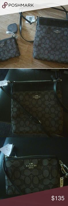 COACH brand new crossbody with wallet & keychain Brand new with tags authentic coach crossbody purse with a matching wallet and limited edition matching keychain. Color scheme is gray and black as well as silver. The wallet fits inside the purse and the keychain can be taken off and put on whatever. It's truly gorgeoue and has a value of $300 and can still be found in certain stores. Coach Bags Crossbody Bags