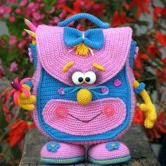 Crochet bikini how to how to make 34 ideas for 2019 Crochet Backpack, Backpack Pattern, Crochet Beach Bags, Cute Crochet, Crochet Animal Patterns, Afghan Crochet Patterns, Crochet Patterns Amigurumi, Crochet Dolls, Handmade Kids Bags