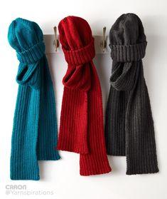 Free pattern to knit Men's Basic Hat and Scarf Set