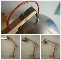 There's something about this DIY desk lamp made of an IKEA salad bowl and wooden parts from a bed frame.
