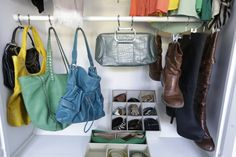 Use a tension rod and S hooks to hang purses and boots to maximize space: Closet Hacks  http://blog.diynetwork.com/maderemade/2014/05/07/spring-cleaning-fever-diy-customized-closets/?soc=pinterest