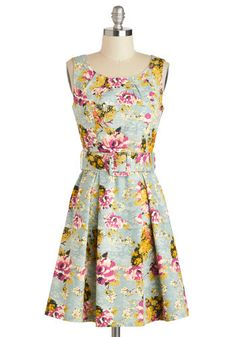 This dress is the embodiment of everything I love: florals, waist-belts, fitted but modest, and the colors are fantastic. Too bad modcloth doesn't sell it anymore :/