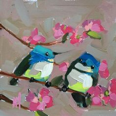 Two Cerulean Warblers no. 15 Bird Original Oil Painting by Angela Moulton