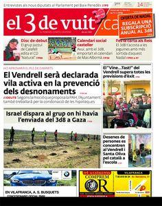 Portada d'El 3 de vuit del 14 de desembre del 2012 - Baix Penedès