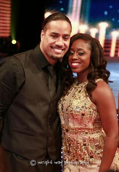 Jonathan Fatu (Jimmy Uso) & his wife Trinity McCray-Fatu (Naomi) at the WWE Hall of Fame Ceremony