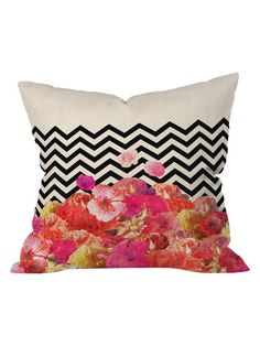 Bianca Chevron Flora 2 Outdoor Throw Pillow by DENY Designs at Gilt