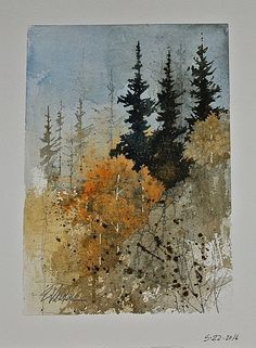 Abstract landscape watercolor mixed media new ideas Watercolor Pictures, Watercolor Trees, Watercolor Landscape, Abstract Watercolor, Watercolor And Ink, Abstract Landscape, Landscape Paintings, Watercolor Paintings, Landscapes