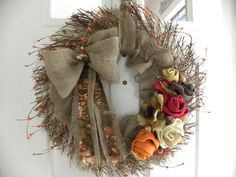 etsy wreaths   Fall Grapevine Wreath with Burlap Roses by jddesigns2319 on Etsy