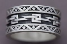 Supernatural Style | https://pinterest.com/SnatualStyle/ Woven Links Sterling Silver Ring Statement Ring Men's