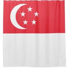 Singapore Flag Shower Curtain - shower curtains home decor custom idea personalize bathroom