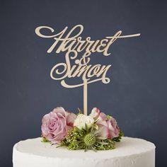 Elegant Personalised Couples Wooden Wedding Cake Topper
