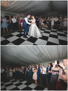 First dance on the black and white chequered dancefloor