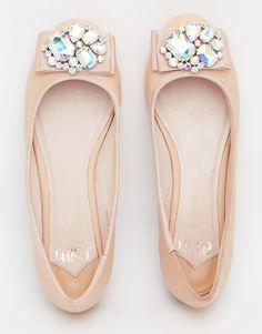 fbc97e4b79af83 Faith Arctic Nude Embellished Ballet Flat Shoes