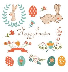 Beautiful easter collection vector by Olillia on VectorStock®