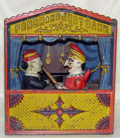 Antique Cast Iron Mechanical Bank PUNCH AND JUDY