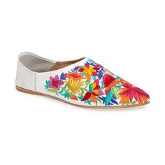 Women's Jeffrey Campbell Vijay Flat ($110) ❤ liked on Polyvore featuring shoes, flats, white multi, embellished flat shoes, white flats, jeffrey campbell flats, embroidered flat shoes and embroidered shoes