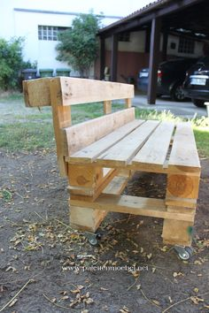 Gartenmöbel aus Paletten Sitzbank 6