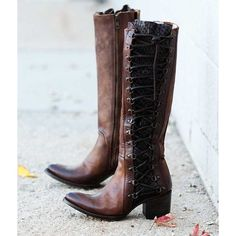 Freebird By Steven Wyatt Boot ($350) ❤ liked on Polyvore featuring shoes, boots, brown, tall lace up boots, lace up boots, laced up boots, tall brown boots and brown lace up boots