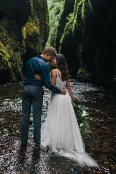 Styled Oneonta Gorge Elopement - BHLDN Elsa gown & tulle skirt