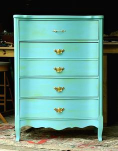 Furniture Makeover: Green Wash Over Turquoise Paint Featuring Shiny Brass Hardware - Petticoat Junktion Furniture Makeover. Green Wash Over Turquoise Paint And Shiny Brass Hardware make this chest of dra Chalk Paint Furniture, Hand Painted Furniture, Upcycled Furniture, Furniture Projects, Furniture Makeover, Vintage Furniture, Cool Furniture, Painted Dressers, Colorful Furniture