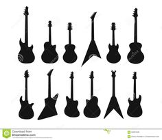 A Set Of Silhouettes Of Various Guitars. Bass , Electric Guitar , Acoustic Stock Illustration - Image: 62837828