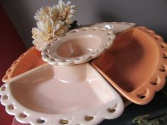 Mid Century California Pottery Relish Set With Lazy Susan Relish Tray Chip and…