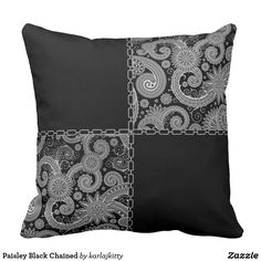 Shop Paisley Black Chained Throw Pillow created by karlajkitty. Cushion Cover Designs, Cushion Covers, Custom Pillows, Decorative Throw Pillows, Sewing Throw Pillows, Sewing Crafts, Sewing Projects, Silver Pillows, Patchwork Pillow