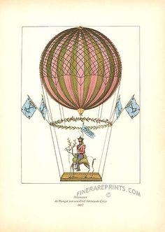 Antique print: picture of Margat ascending on his stag in 1817 - Ascension de Margat sur son Cerf Aeronaute Coco, 1817