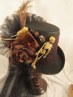 Items similar to Steampunk Halloween Top Hat Black with Skeleton and Clock  Parts 4765006ca5c