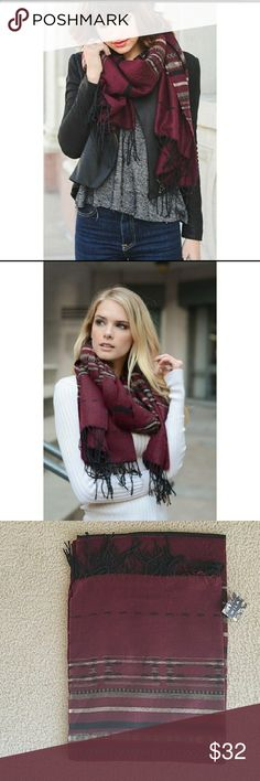 Burgundy boho print scarf Beautiful color and super soft. Great gift for the holidays! Accessories Scarves & Wraps