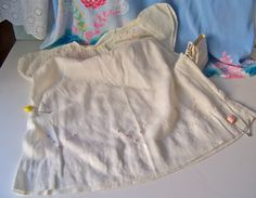 Vintage Baby Dress Ivory with Pink Trim 1950s by cynthiasattic, $24.00