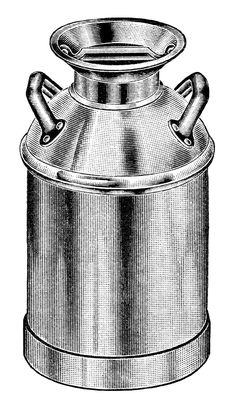 vintage milk can clip art, old fashioned milk container, antique catalogue ad, black and white clipart, gem pattern milk can image