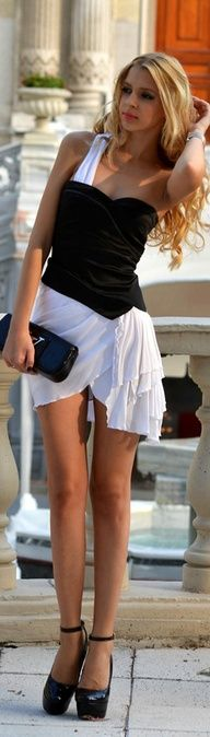 Lidiya Street Style | gorgeous black and white dress