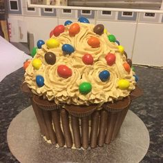 Giant chocolate & peanut butter (and lots of peanut based sweets) birthday cupcake