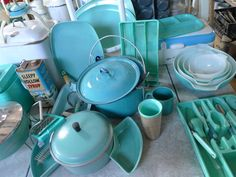nice collection of vintage turquoise kitchen items