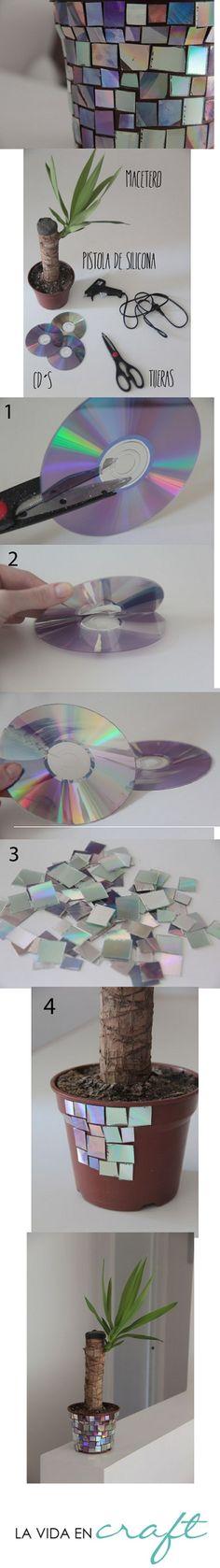 Macetero disco   http://lavidaencraft.com/2013/02/01/macetero-disco/
