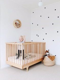 Ulsan Interior Teddy Company / Part 2 - Baby Zimmer Ideen Monochrome Nursery, Nursery Modern, Rustic Nursery, Baby Nursery Decor, Baby Bedroom, Nursery Neutral, Baby Decor, Nursery Ideas, Polka Dot Nursery
