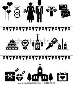 stock vector : wedding pictograms
