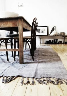 rug, colors, table,chairs (I have 6 of these chairs just waiting for a table like this)