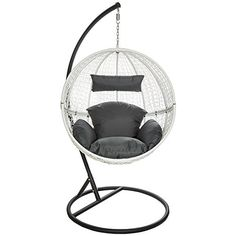 TecTake Garden Swing Chair With Standing Steel Frame + Cushions Poly Rattan  Hanging Pod White