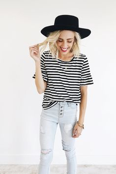 Black + White Striped Top | ROOLEE