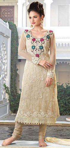 $92.59 Brown Net Embroidered Churidar Salwar Kameez 22270